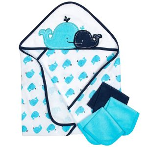 Gerber Hooded Towel and Washcloth Set, Whale