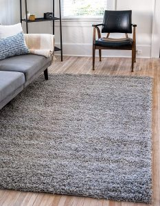 Unique Loom Solo Solid Shag Collection Modern Plush Cloud Gray Area Rug