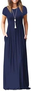 VIISHOW Women's Short Sleeve Loose Plain Maxi Dresses with Pockets