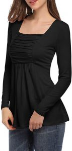 Yesfashion Womens Square Neck Ruched Tops Empire Waist Tunics