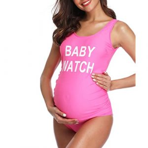 MiYang Women Backless Maternity Swimsuit Letters Printed One Piece