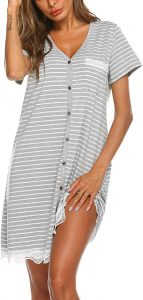 Ekouaer Women's Nightgown Striped Tee Short Sleeve Sleep Nightshirt