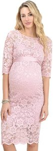 Hello MIZ Women's Baby Shower Floral Lace Maternity Dress