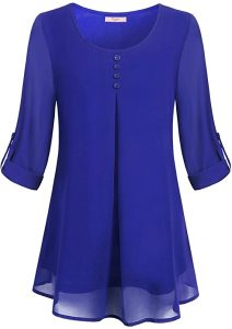 Cestyle Women's Roll-up Long Sleeve Round Neck Layered Chiffon Flowy Blouse