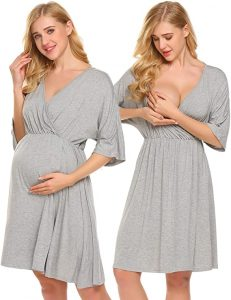 Ekouaer Women's Maternity Dress Nursing Nightgown