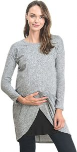 HELLO MIZ Women's Long Sleeve Maternity Nursing Tunic Dress