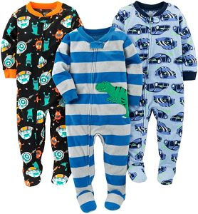 Simple Joys by Carter's Loose Fit Fleece Footed Pajamas