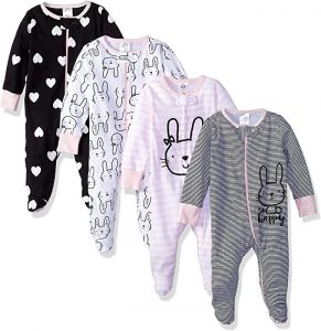 Gerber Girls' 4 Pack Sleep N' Play Footie
