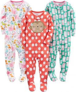 Simple Joys Baby and Toddler Girls' Snug Fit Footed Cotton Pajamas